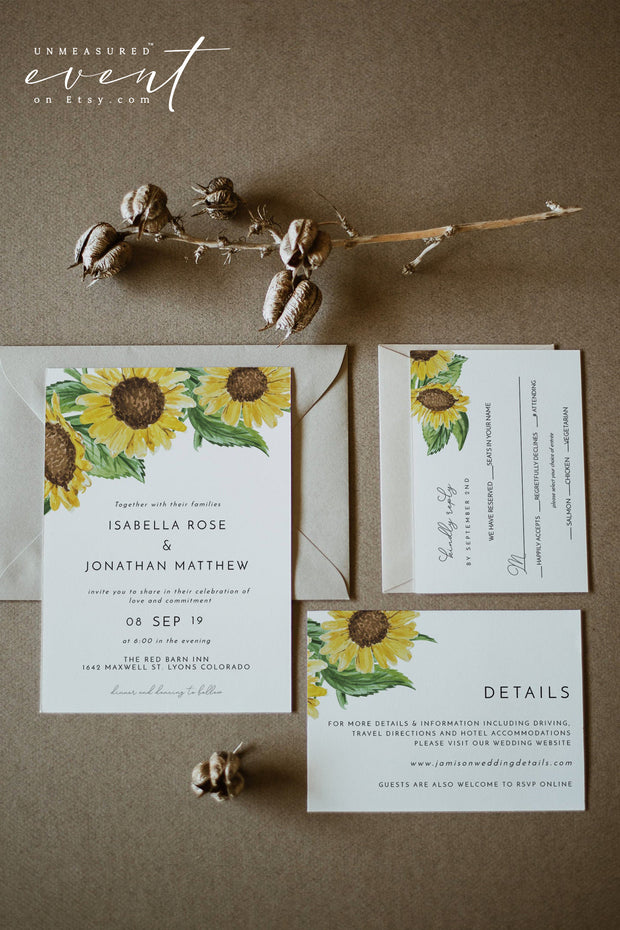 EMMA | Rustic Sunflower Wedding Invitation Template Suite