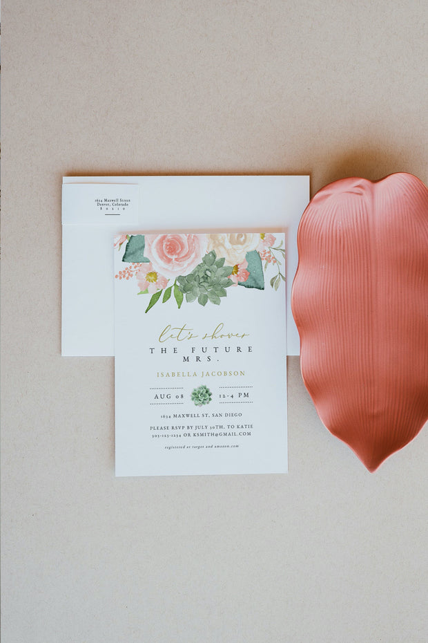 FINLEY | Rustic Peach Floral & Succulent Bridal Shower Invitation Template