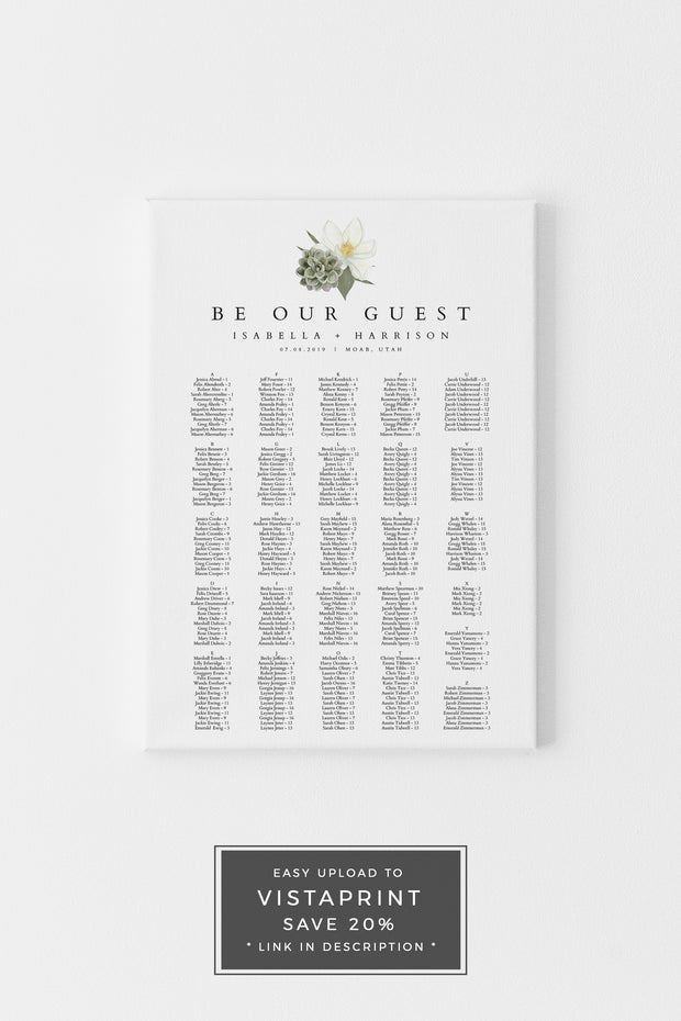 Cara - White Magnolia and Succulent Alphabetical Wedding Seating Chart Template