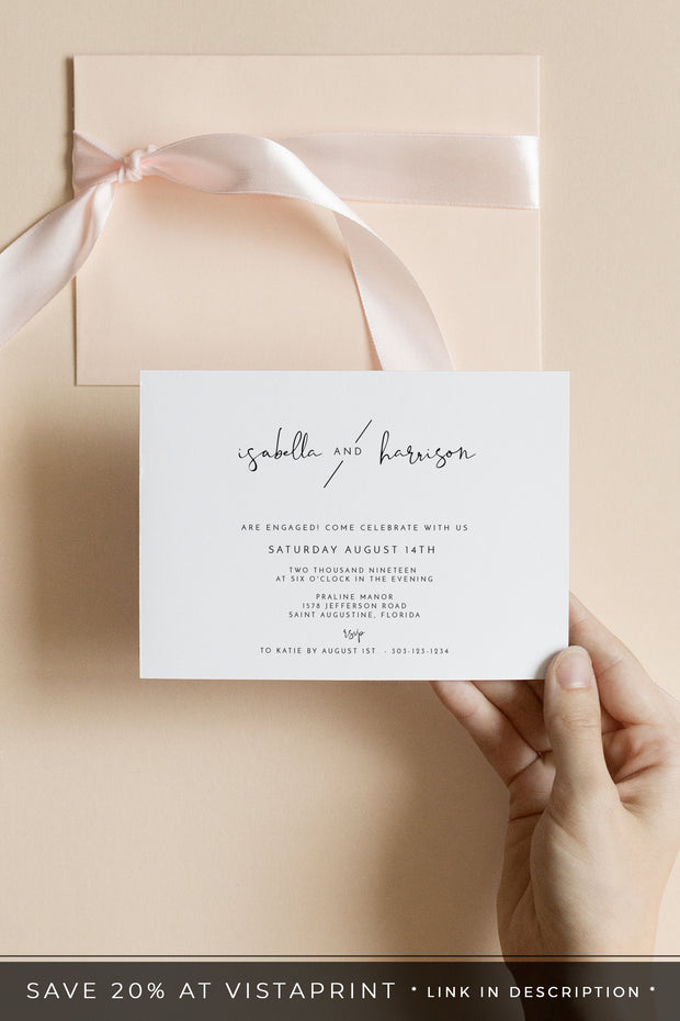 Adella - Modern Minimalist Engagement Invitation Template - Unmeasured Events