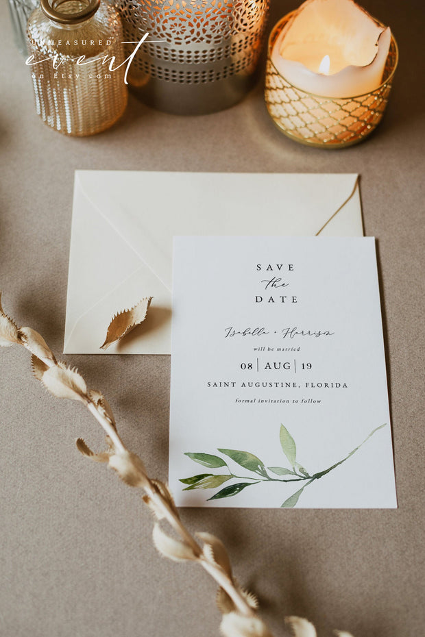ISABELLA | Minimal Greenery Printable Wedding Save the Date Template