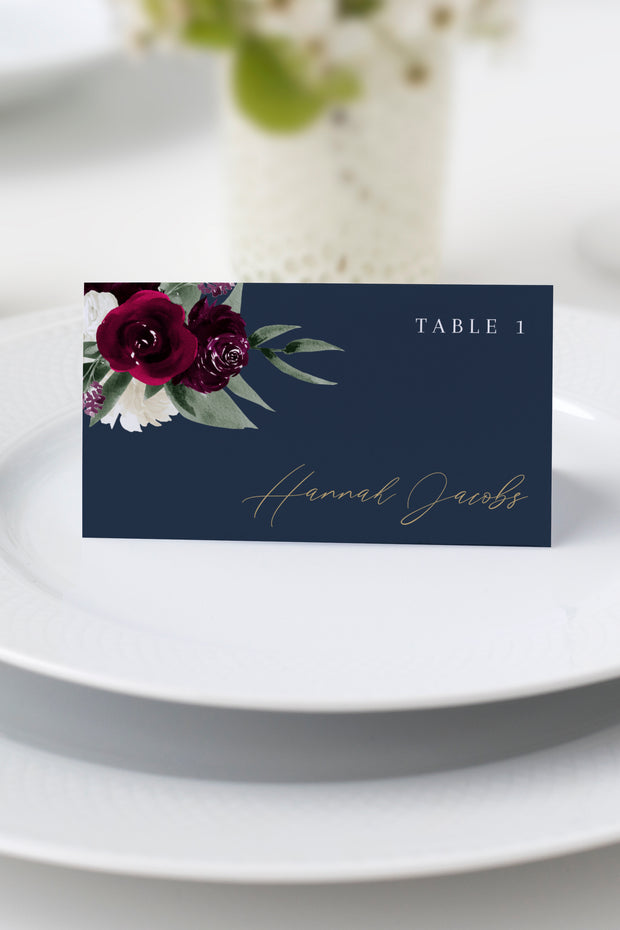 Rosa - Bordeaux Floral Wedding Place Card Template - Unmeasured Events
