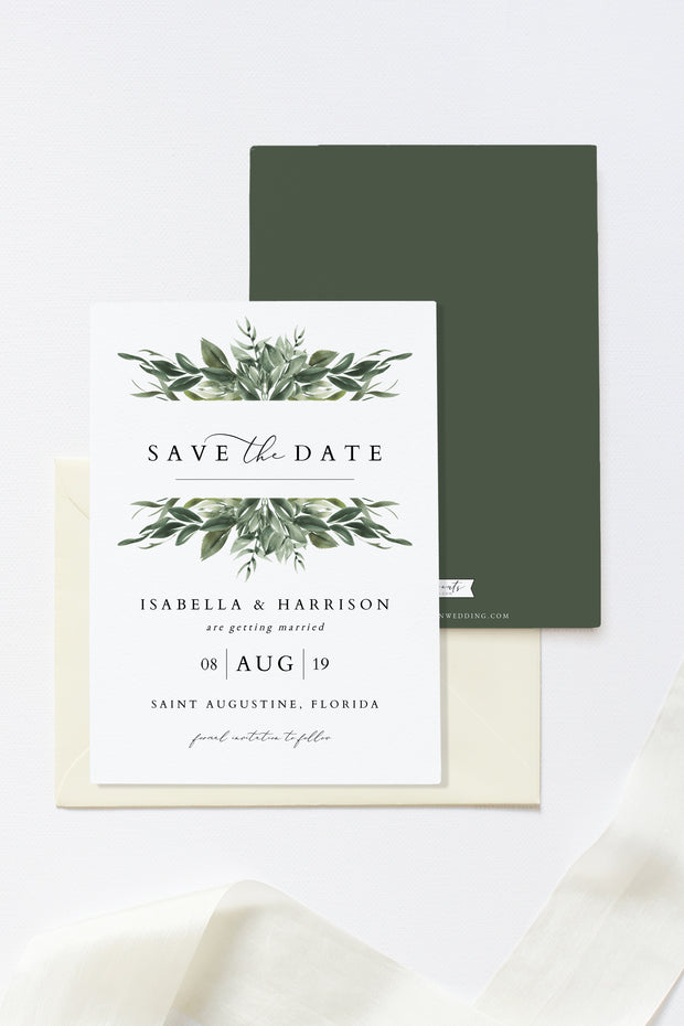 Lana - Modern Greenery Save the Date Template - Unmeasured Events