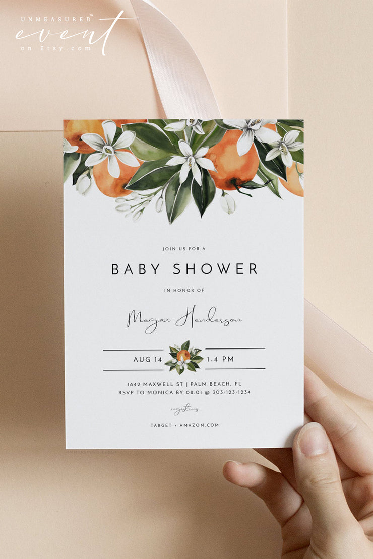 CALLIOPE | Citrus Orange Blossom Baby Shower Invitation Template