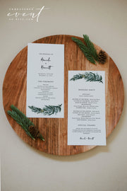 BEATA | Winter Pine Printable Wedding Program Template