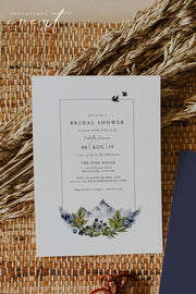 SIERRA | Modern Minimal Mountain Printable Bridal Shower Invitation Template