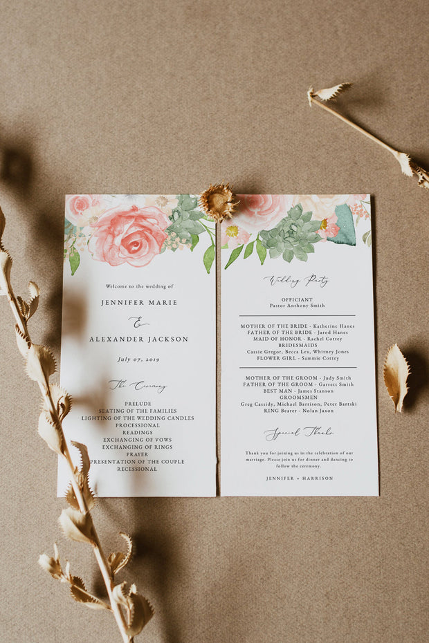 FINLEY | Rustic Peach Floral & Succulent Wedding Program Template