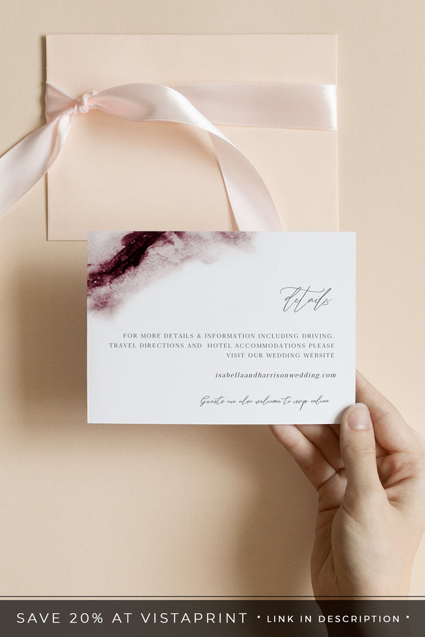 Scarlett - Abstract Burgundy Watercolor Wedding Enclosure Template - Unmeasured Events