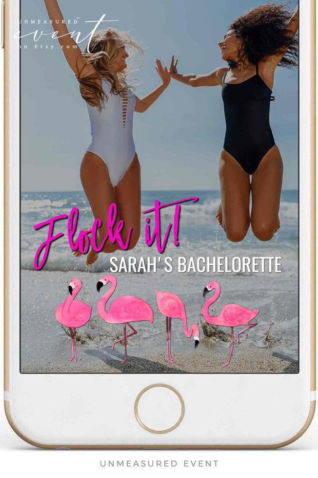 OAKLEY | Flock It Flamingo Bachelorette Editable Snapchat Filter Template
