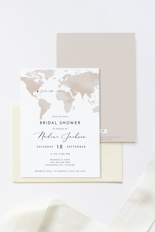 Carmen - Watercolor Map Destination Bridal Shower Invitation Template