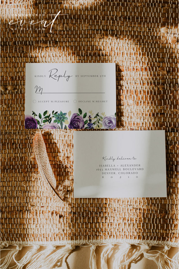 OLIVIA | Purple Floral and Succulent Wedding Invitation Template Suite