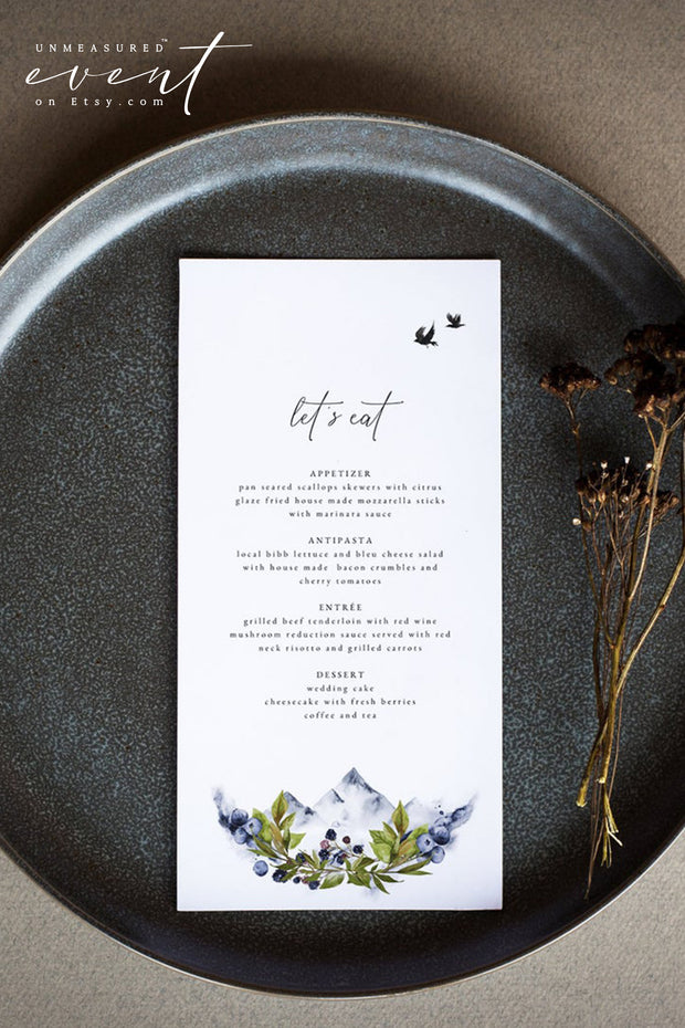 SIERRA | Boho Mountain Printable Wedding Menu Template