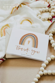 ANSLEY | Bohemian Terracotta Rainbow Printable Thank You Card Template