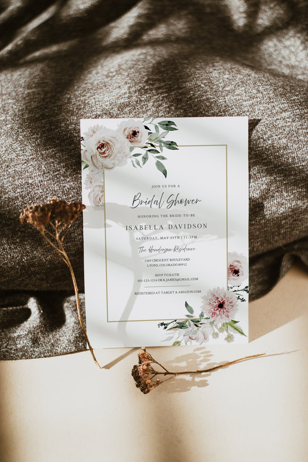 Robyn - Blush Floral Bridal Shower Invitation Template
