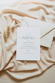 ASHER | Minimalist Calligraphy Bridal Shower Invitation Template