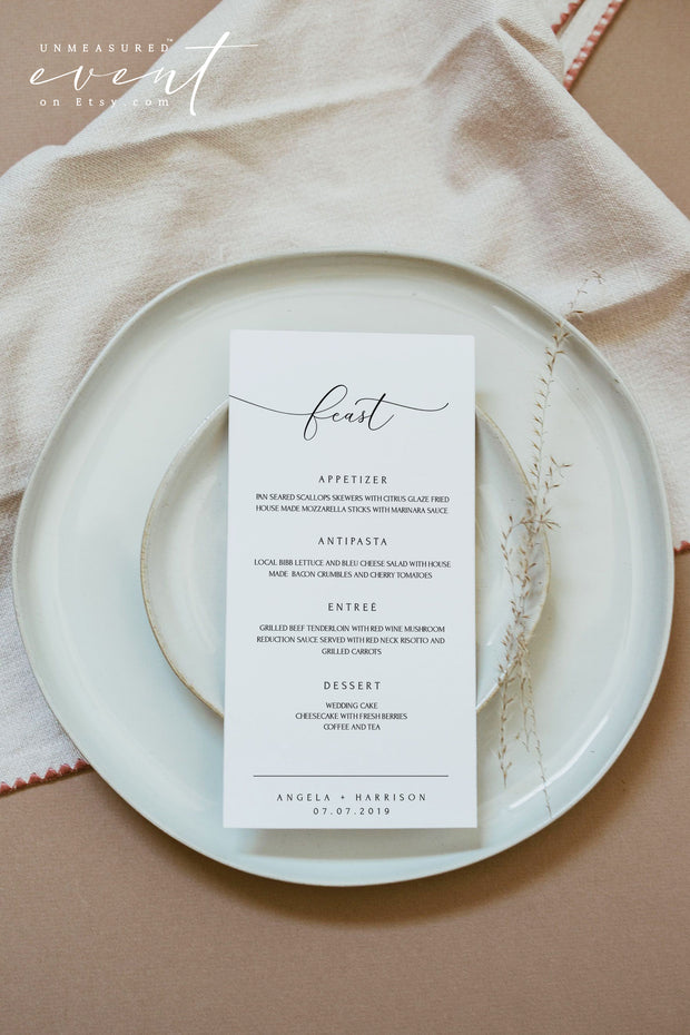 ASHER | Minimalist Calligraphy Wedding Menu Template