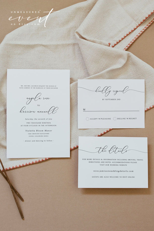 ASHER | Minimalist Calligraphy Printable Wedding Invitation Template Suite