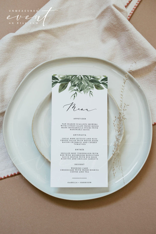 LANA | Modern Greenery Printable Wedding Invitation Template Bundle