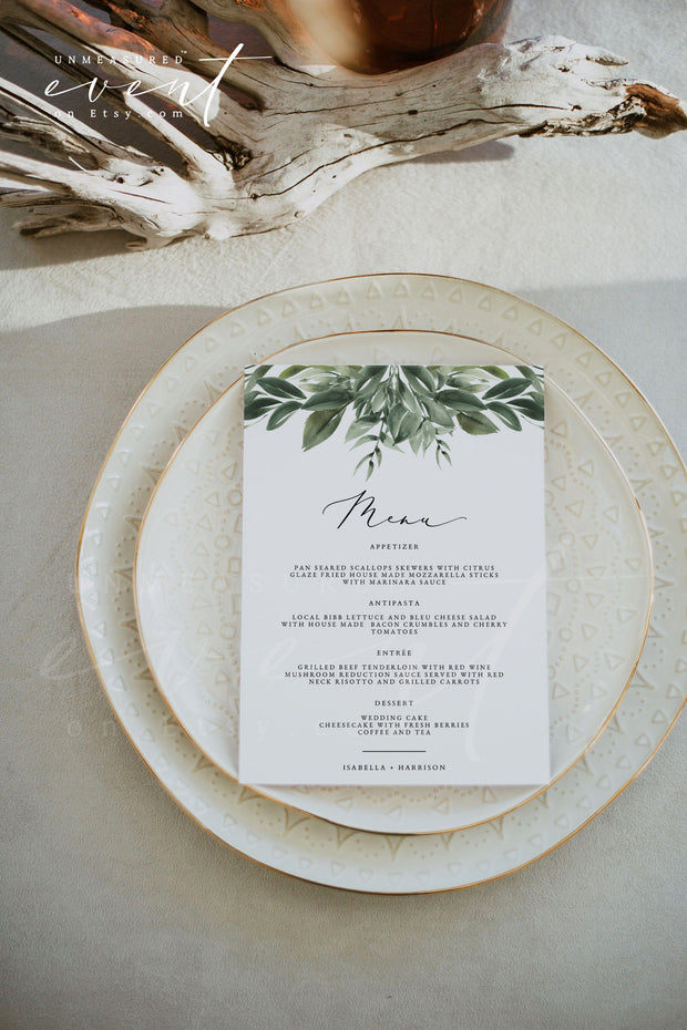 LANA | Modern Watercolor Greenery Printable Wedding Menu Template