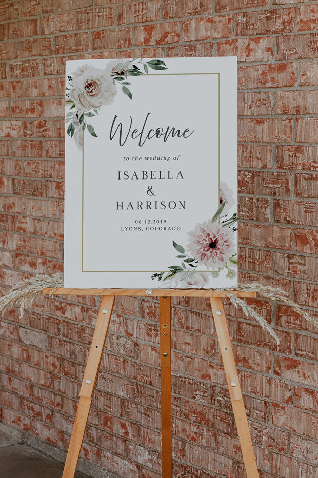 ROBYN | Blush Floral Wedding Welcome Sign Template