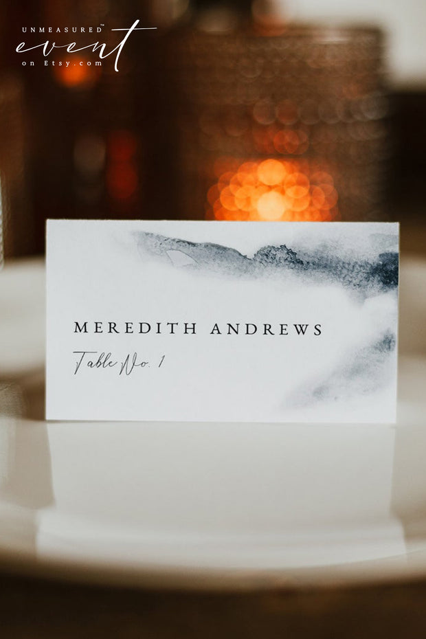 SIERRA | Modern Bohemian Hazy Blue Watercolor Printable Place Card Template
