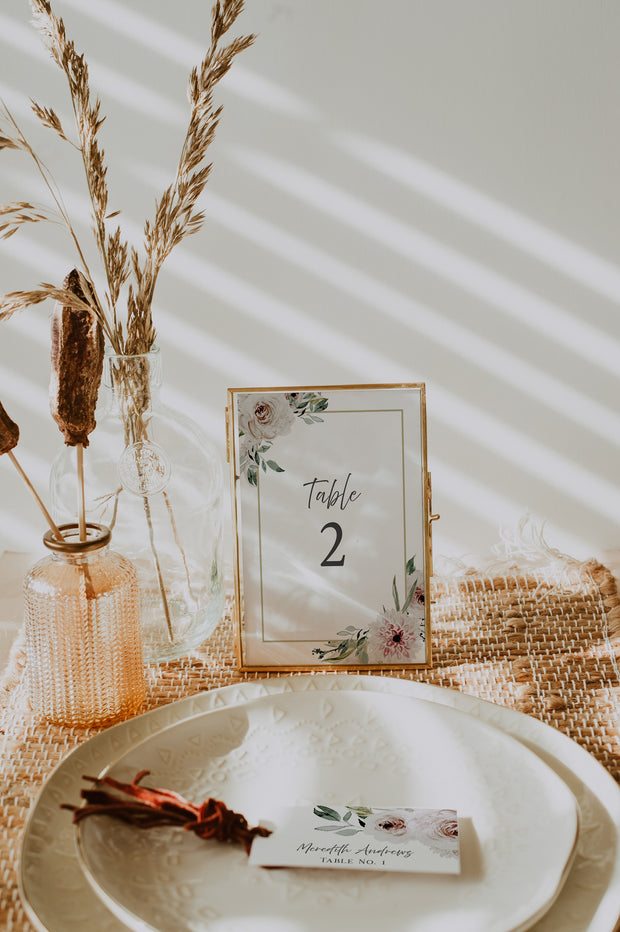 ROBYN | Blush Floral Wedding Table Number Template