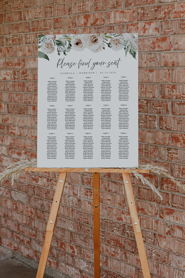 ROBYN | Blush Floral Wedding Seating Chart Template
