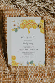 ROMY | Watercolor Honeycomb Bee First Birthday Invitation Template