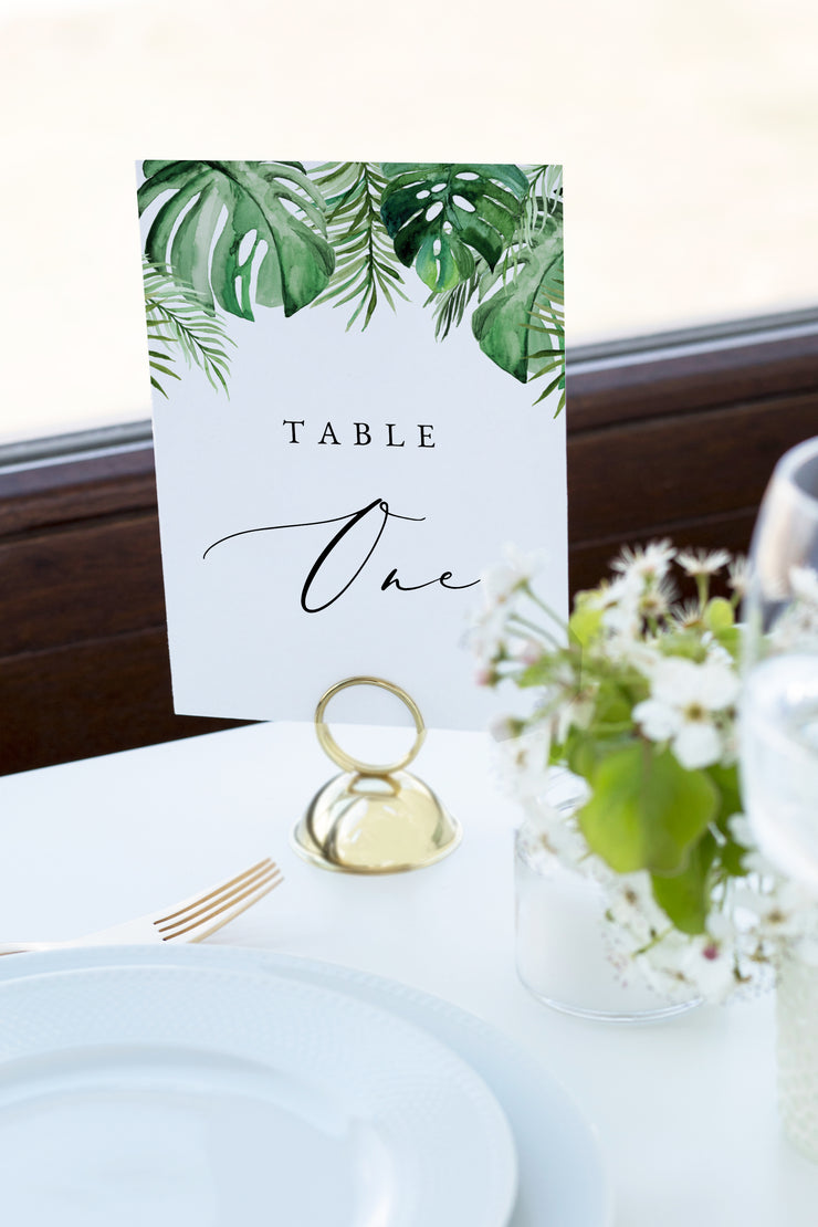 Cora - Modern Palm Tropical Wedding Table Number Template - Unmeasured Events