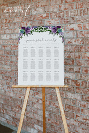 OLIVIA | Purple Floral and Succulent Wedding Table Seating Chart Template