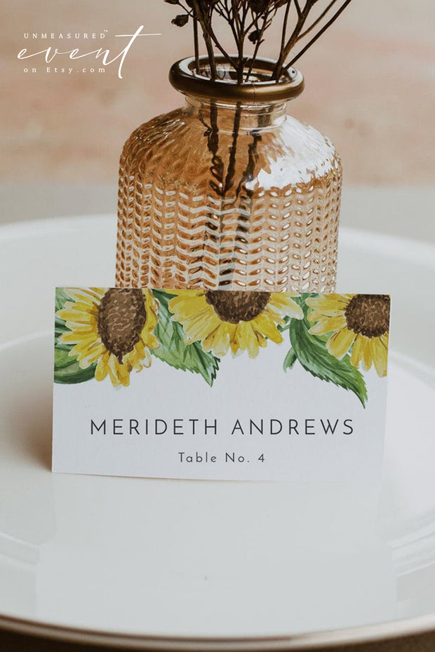 EMMA | Rustic Sunflower Wedding Place Card Template
