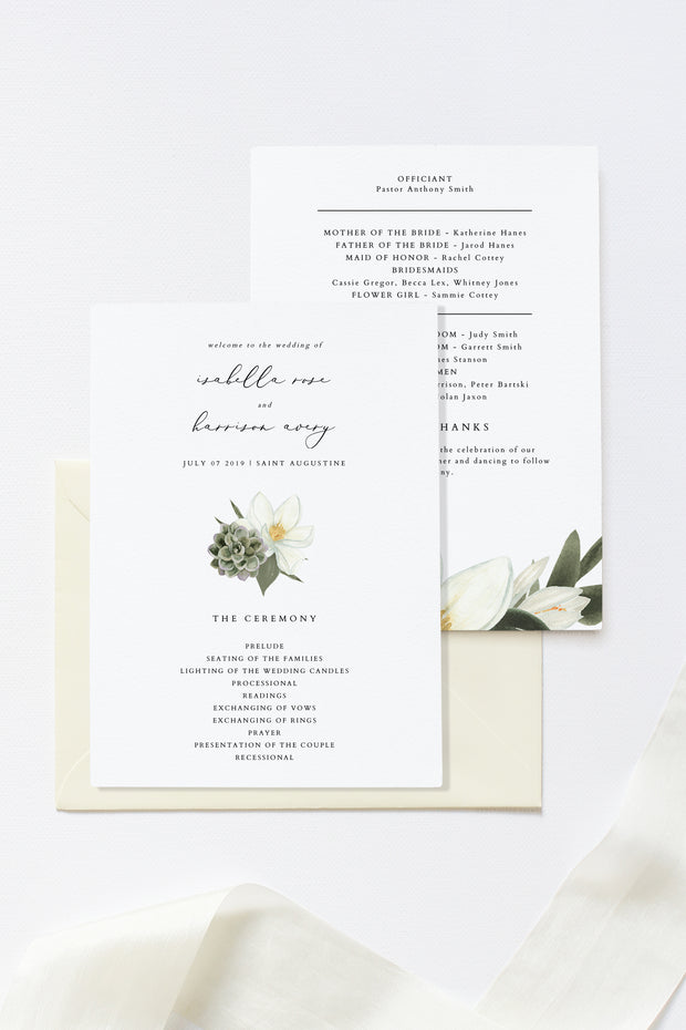 Cara - White Magnolia and Succulent Wedding Program Template
