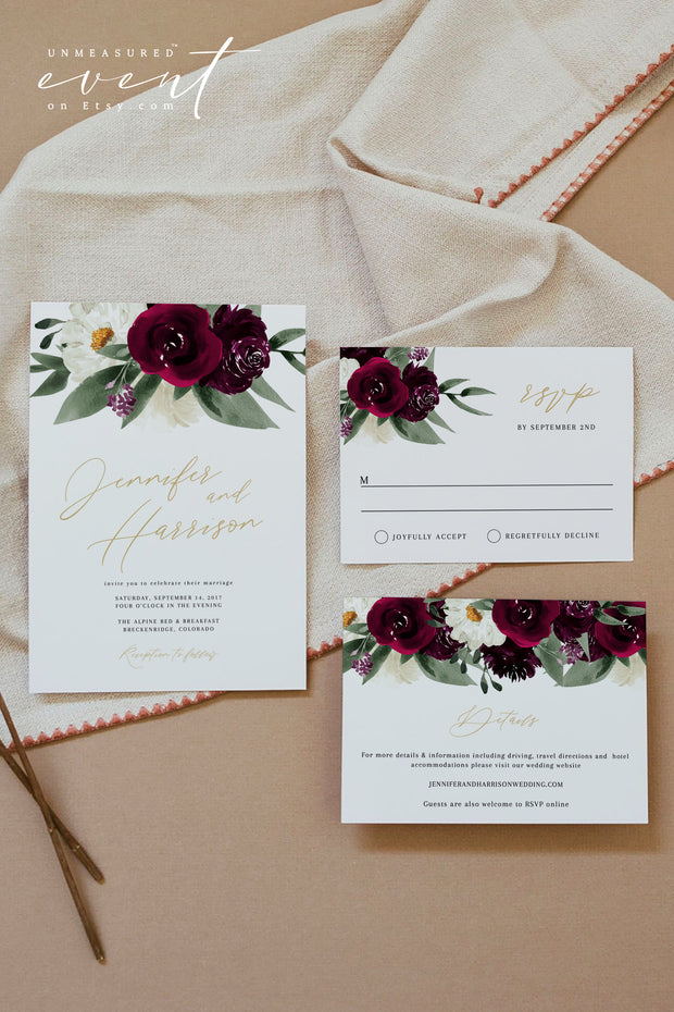 ROSA |  Burgundy Floral Wedding Invitation Template 3 Piece Suite