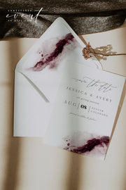SCARLETT | Abstract Burgundy Watercolor Printable Envelope Liner Template