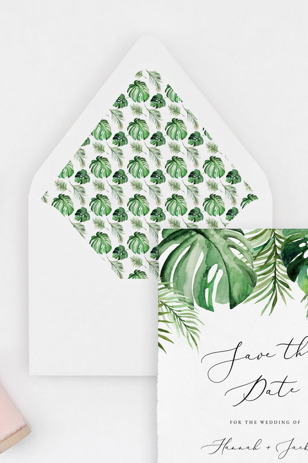 Cora - Modern Palm Tropical Wedding Envelope Liner Template - Unmeasured Events