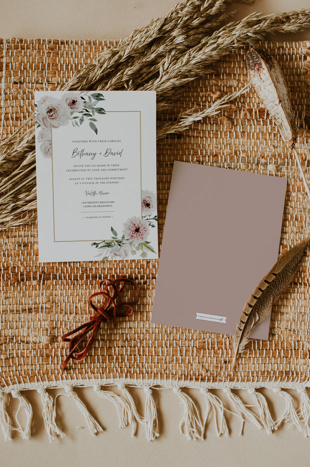 Robyn - Blush Floral Wedding Invitation Template Suite