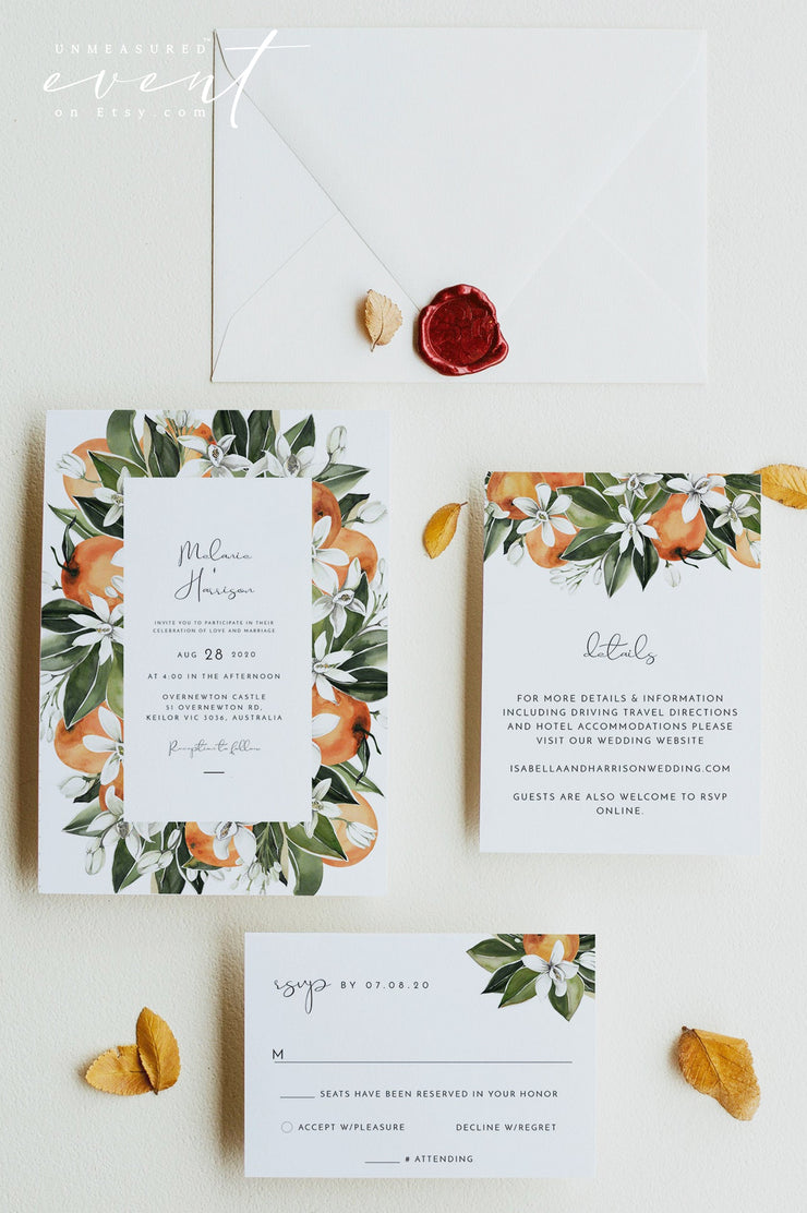 CALLIOPE | Orange Citrus Printable Wedding Invitation Template Suite