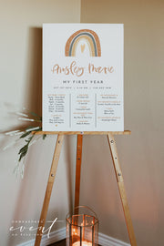 ANSLEY | Bohemian Terracotta Rainbow First Birthday Milestone Board Template