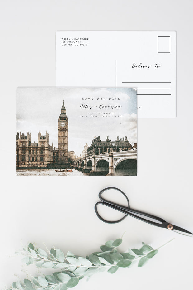 Adley - Watercolor London Wedding Save the Date Template - Unmeasured Events