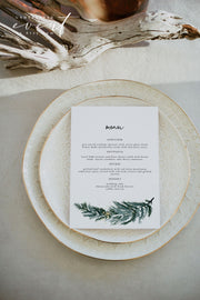 BEATA | Winter Pine Printable Wedding Menu Template