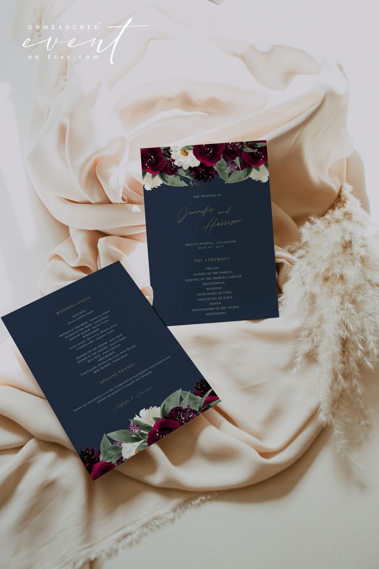 ROSA | Bordeaux Navy & Burgundy Floral Wedding Program Template Suite