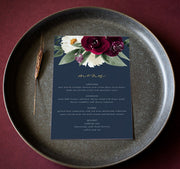 Rosa - Bordeaux Floral Wedding Menu Template