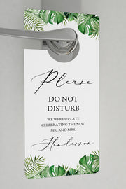 Cora - Modern Palm Tropical Wedding Door Hanger Templates - Unmeasured Events