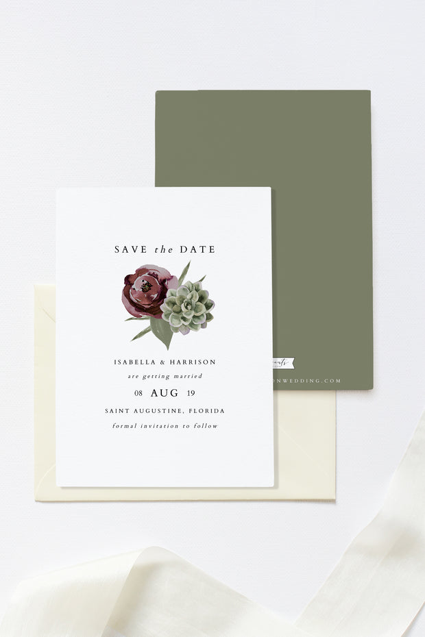 Ava - Boho Burgundy & Succulent Wedding Save the Date Template - Unmeasured Events