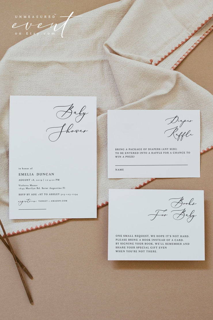 EVELYN | Elegant Modern Minimalist Printable Baby Shower Invitation Template Suite