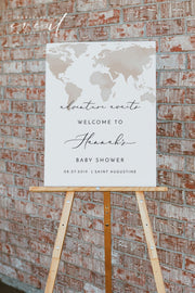 CARMEN | Watercolor Map Adventure Printable Baby Shower Welcome Sign Template