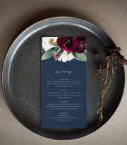 Rosa - Bordeaux Floral Wedding Menu Template - Unmeasured Events