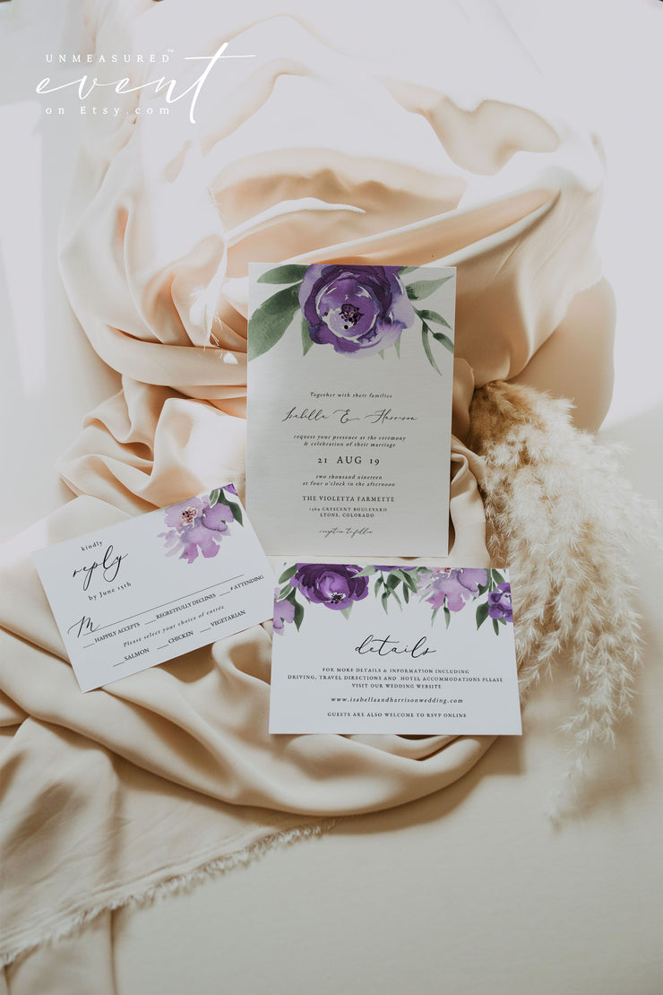 LILAH | Purple Lavender Floral Wedding Invitation Template 3 Piece Suite