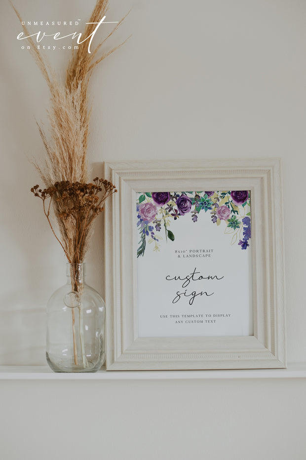 "OLIVIA | Purple Floral and Succulent Custom 8x10"" Sign Template"