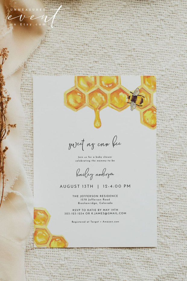 Romy - Modern Honey Bee Baby Shower Invitation Template